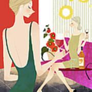 Two Woman Drinking Wine Art Print