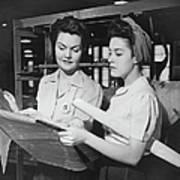 Two Women In Workshop Looking At Art Print