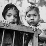 Two Young Indian Children Holding Art Print