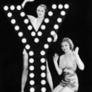 Two Young Women Posing With The Letter Y Art Print