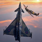 Typhoon And Spitfire Synchro-pair Display Team Art Print