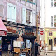 Un Artiste A La Place Du Tertre Paris. Art Print