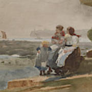 Under The Cliff, Cullercoats , 1881 Art Print