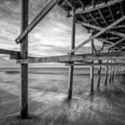 Uner The Pier In Black And White Art Print