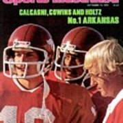 University Of Arkansas Coach Lou Holtz, Qb Ron Calcagni Sports Illustrated Cover Art Print