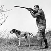 Upland Bird Hunter With Pointer Dog Art Print