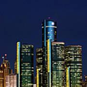 Usa, Michigan, Detroit, Skyline & Art Print