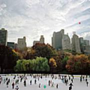 Usa, New York City, People Ice Skating Art Print