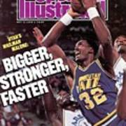 Utah Jazz Karl Malone, 1988 Nba Baseball Preview Sports Illustrated Cover Art Print