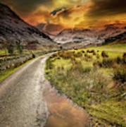 Valley Sunset Snowdonia Art Print