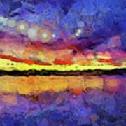 Van Gogh Sunset Reflection Art Print