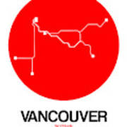 Vancouver Red Subway Map Art Print