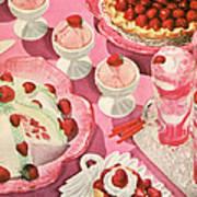 Variety Of Strawberry Desserts Art Print