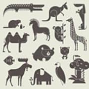 Vector Animals Set Art Print