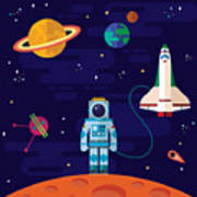 Vector Flat Space Elements With Art Print
