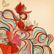 Vector Floral Background Art Print