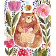 Vector Illustration Adorable Bear In Art Print