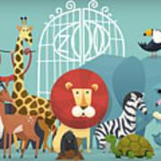 Vector Illustration Card With Animals Art Print