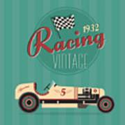 Vector Vintage Sport Racing Car Art Print