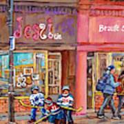 Verdun Montreal Storefront Painting Jessie Et Cie Beaute Candy Nail Shop Hockey Artist C Spandau Art Art Print
