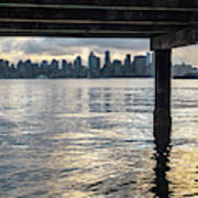 View Of Downtown Seattle At Sunset From Under A Pier Art Print