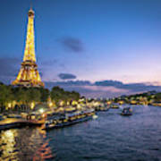 View Of The Eiffel Tower During Sunset From The Scene River Art Print