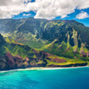 View On Napali Coast On Kauai Island Art Print