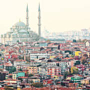 View Over Istanbuls Dense Residential Art Print