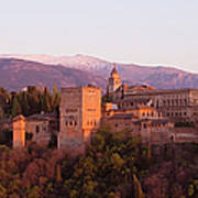 View To The Alhambra At Sunset Art Print