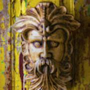 Viking Mask On Old Door Art Print