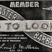 Vintage Associated Master Barber Sign Black And White Art Print