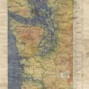 Vintage Auto Map Western Washington Olympic Peninsula Hand Painted Art Print