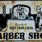 Vintage Barber Sign From The 1950s Art Print