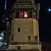Vintage Chicago Bridge Tower At Night Art Print