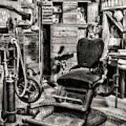 Vintage Dentist Office And Drill Black And White Art Print