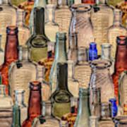 Vintage Glass Bottles Collage Art Print