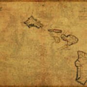 Vintage Map Of Hawaii 1837 Art Print