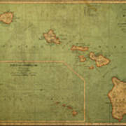 Vintage Map Of Hawaii Art Print