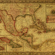 Vintage Map Of Mexico Art Print