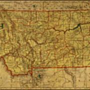 Vintage Map Of Montana Art Print