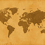 Vintage Map Of The World In Brown Art Print