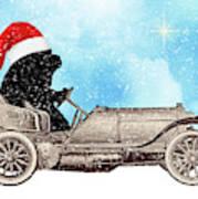 Vintage Santa Newf Holiday Card Art Print