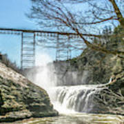 Vintage Train Trestle With Waterfalls Art Print