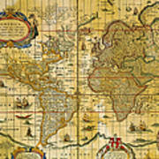 Vintage World Map Art.Vintage World Map Poster By Comstock