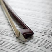 Violin Bow On Music Sheet Art Print