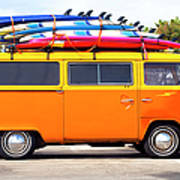 Volkswagen Bus With Surf Boards Art Print