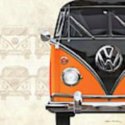 Volkswagen Type 2 - Black And Orange Volkswagen T1 Samba Bus Over Vintage Sketch  Art Print