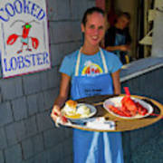 Waitress Serving Lobster  Art Print
