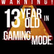 Warning 13 Year Old In Gaming Mode Art Print