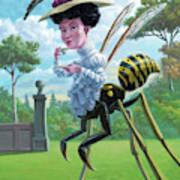 Wasp Woman Insect Drinking Tea Fantasy Art Print
